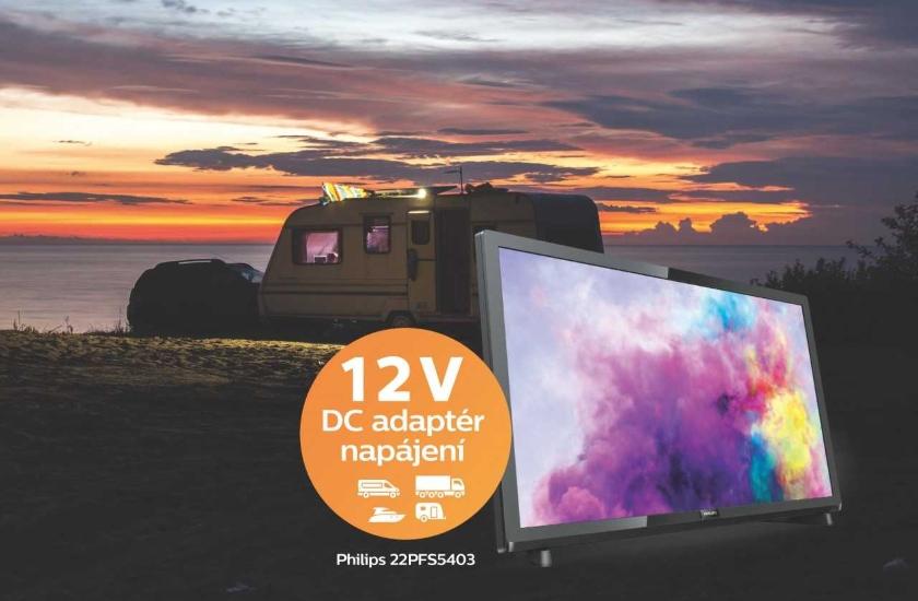 Full HD televizor napájený 12 V vhodný na cesty