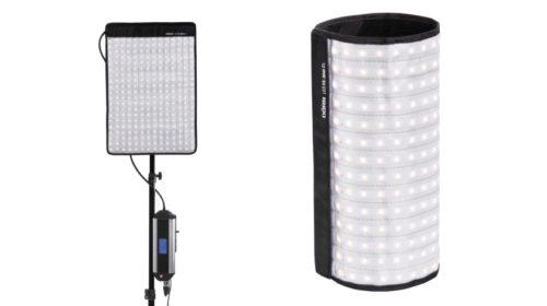 Dva flexibilní studiové LED panely, stojany a taška v setu
