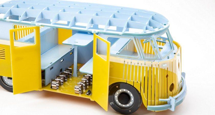 stavebnice minivan zluty otevreny